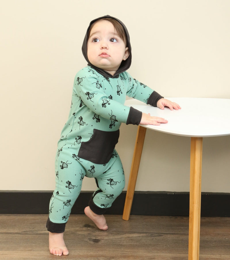 bamboo fleece hooded romper with zipper roller booties print