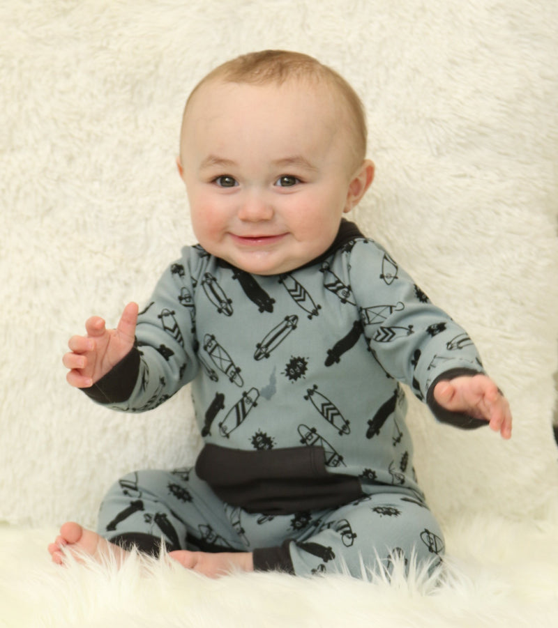 bamboo fleece romper with zipper rad skateboard print
