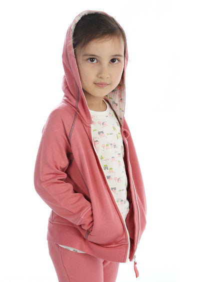 Bamboo Fleece Hooded Jacket (Girl) - Quartz (Hood with Little Village Print Lining)