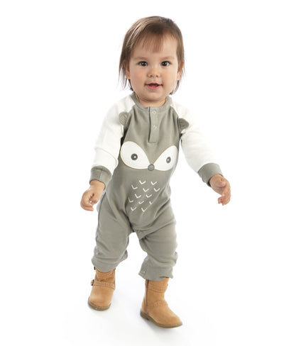 Organic Cotton Long Sleeve Romper with Ears (Wild Dove/Snow Fox)