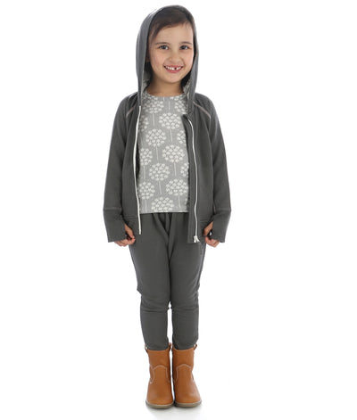 Bamboo Fleece Hooded Jacket (Girl) - Shady Gray (Hood with Floral Dandelion Print Lining)