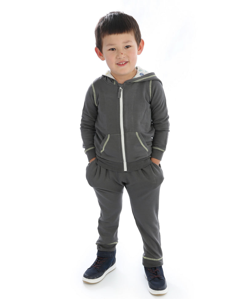 Bamboo Fleece Hooded Jacket (Boy) - Shady Gray (Hood with Robot Print Lining)