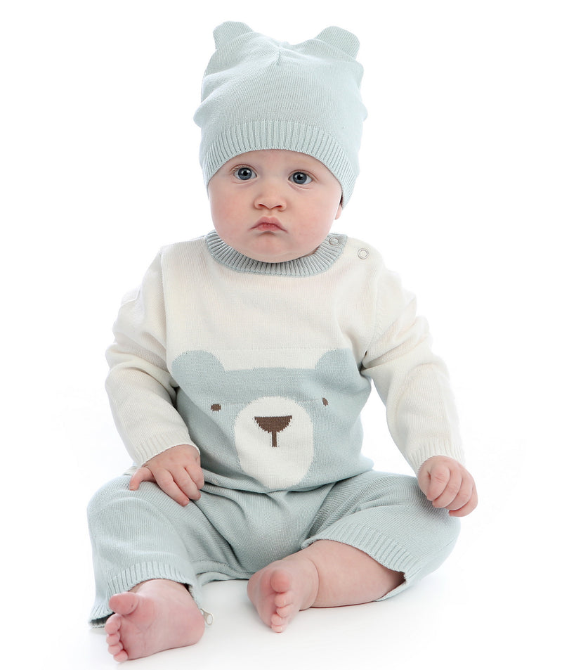 Sweater Romper with Easy Dressing Zipper - Snow/Harbour (bear)