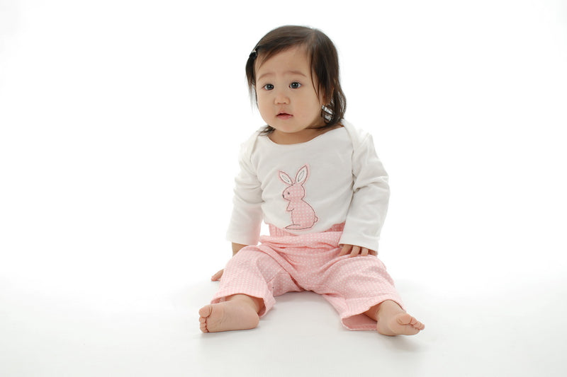Organic Cotton Long Sleeve Onesie (Snow/Blush bunny)
