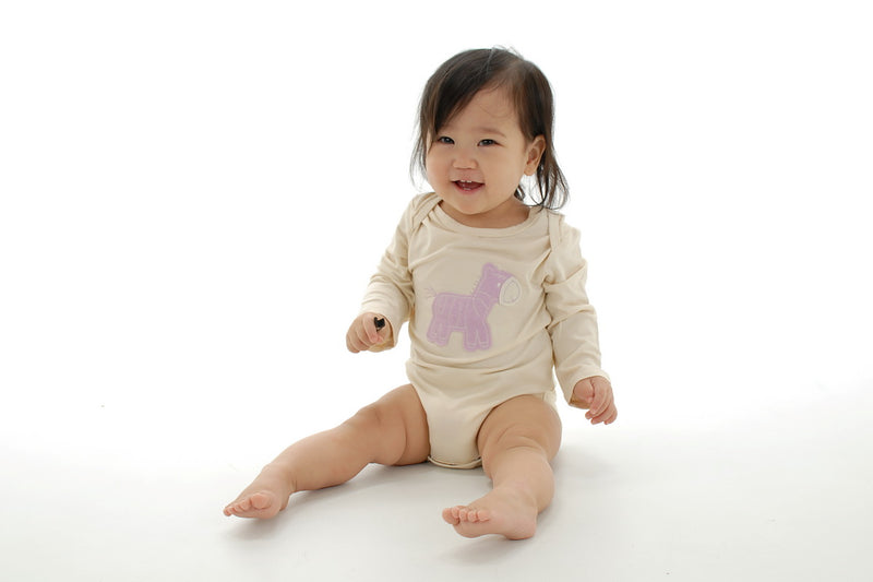 Bamboo Long Sleeve Onesie (Orchid Zebra)