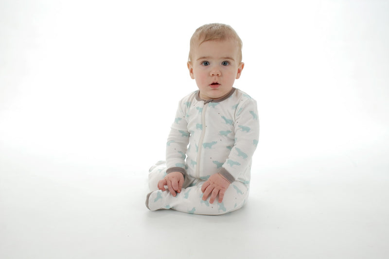 Organic Cotton Footed Sleeper - Arctic blue bear print