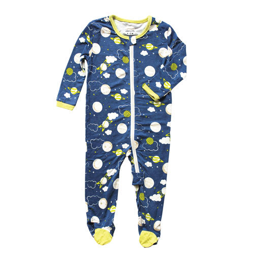 Bamboo Footies with Easy Dressing Zipper - Blue Galaxy Space