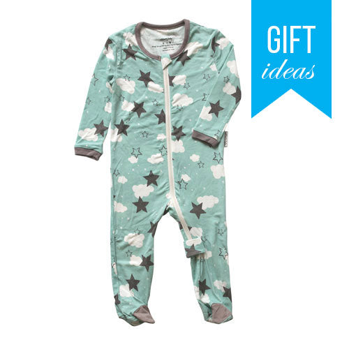 Bamboo Footies with Easy Dressing Zipper - Shady Mint Star