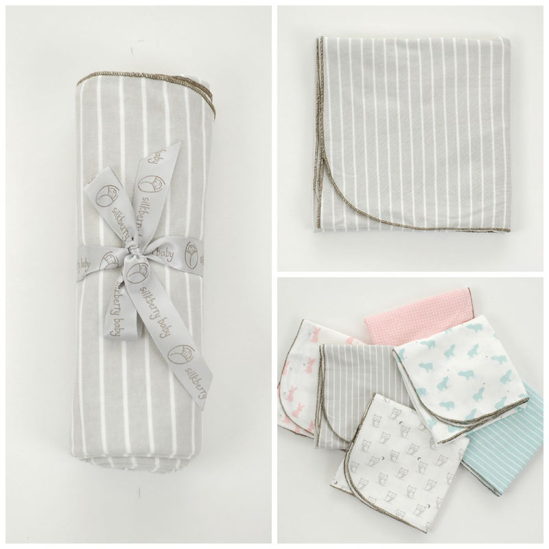 Organic Cotton Swaddler Blanket (Silvercloud stripe)