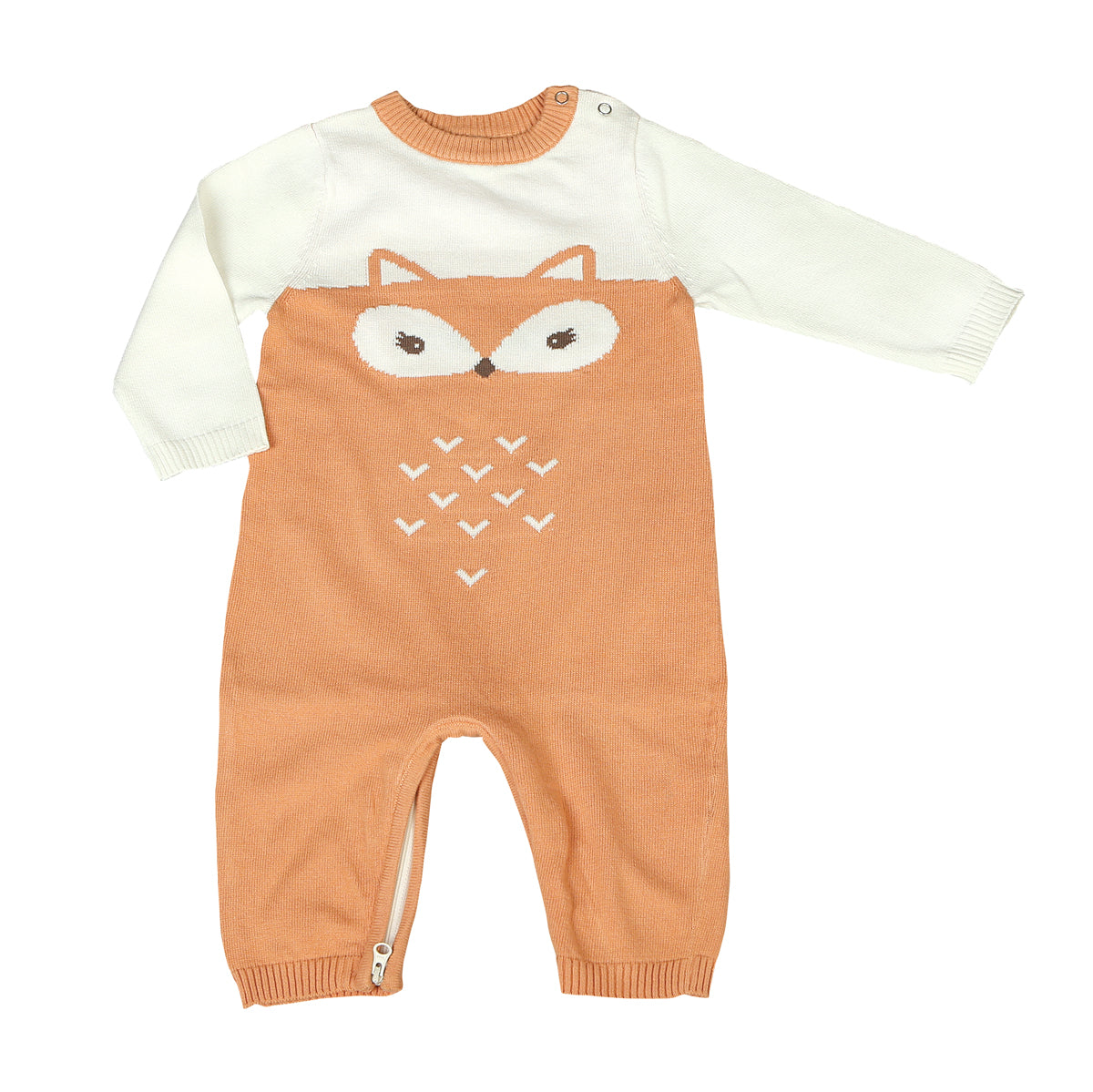 Sweater Romper with Easy Dressing Zipper - Snow/Apricot (fox)