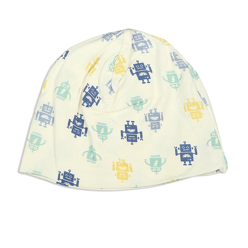 Bamboo Beanie (double layered) - Robot Print