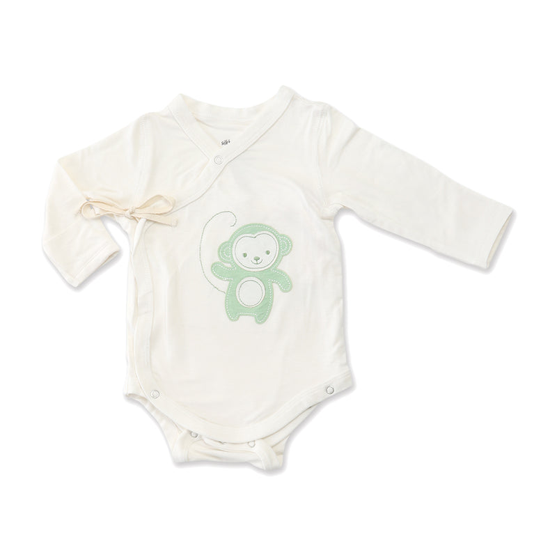 Bamboo Long Sleeve Onesie (Pistachio Monkey)