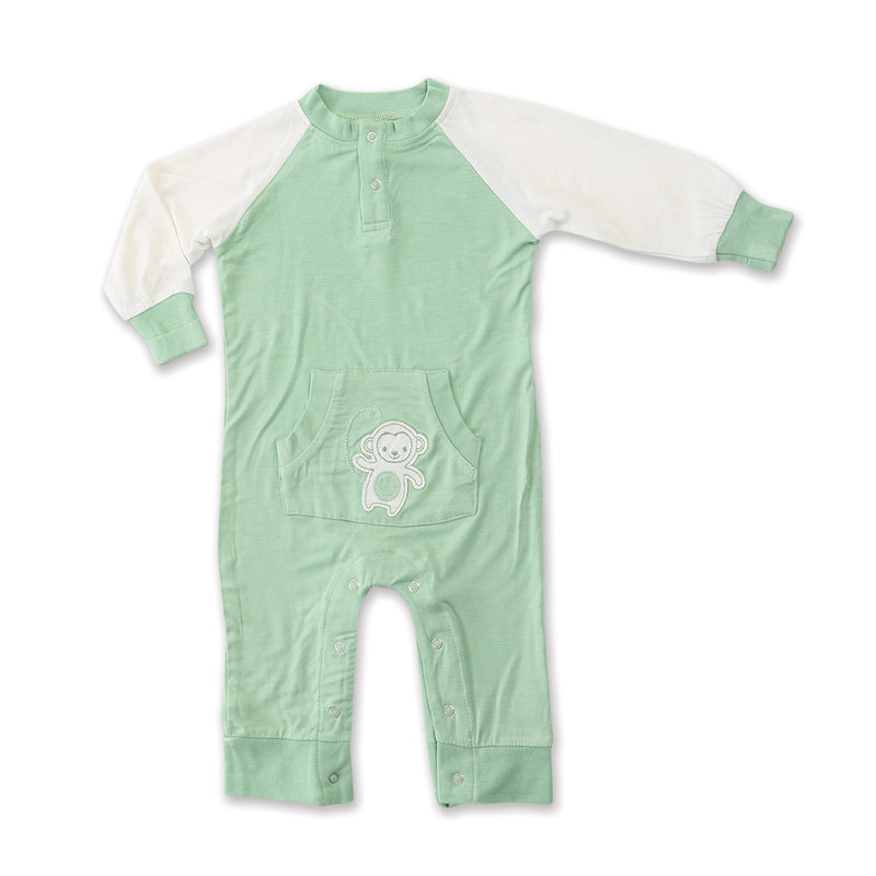 Bamboo Long Sleeve Romper (Pistachio/Monkey)