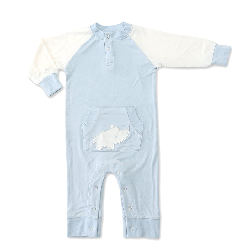 Bamboo Long Sleeve Romper (Sea Breeze/Rhino)