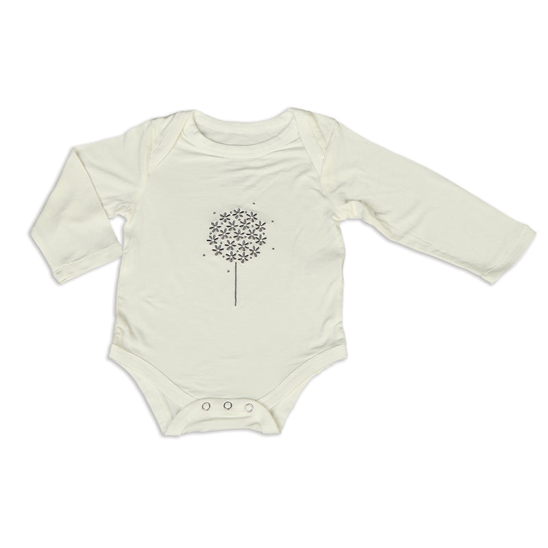 Bamboo Long Sleeve Onesie (Feather/Dandelion)