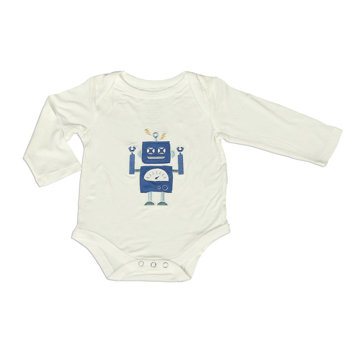Bamboo Long Sleeve Onesie (Feather/Robot)