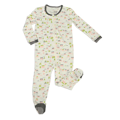 Bamboo Footies with Easy Dressing Zipper (Little Village Print)