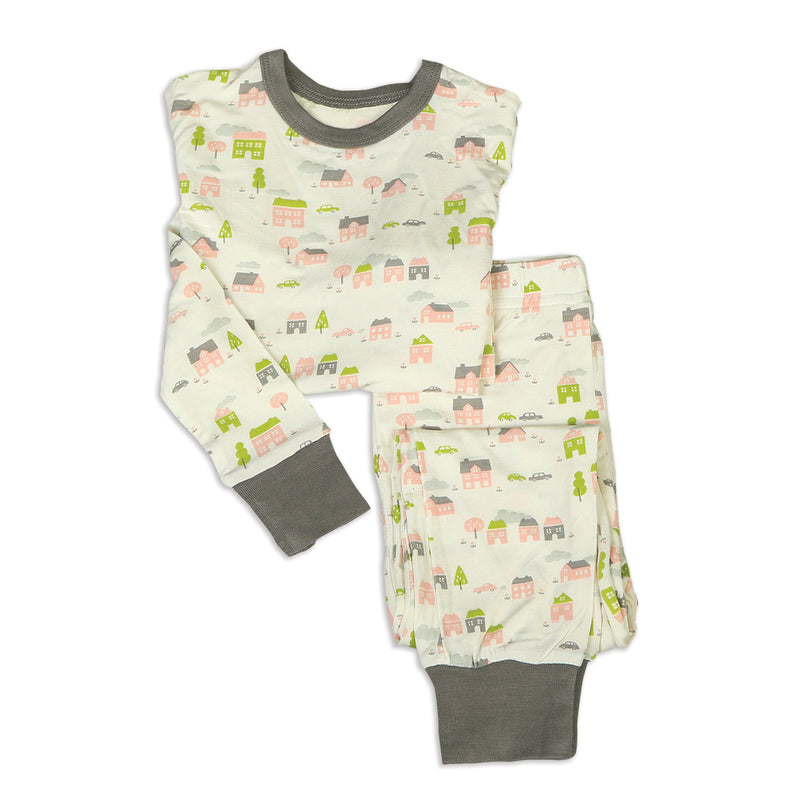 Bamboo 2 Piece Pajama Set (Little Village Print)