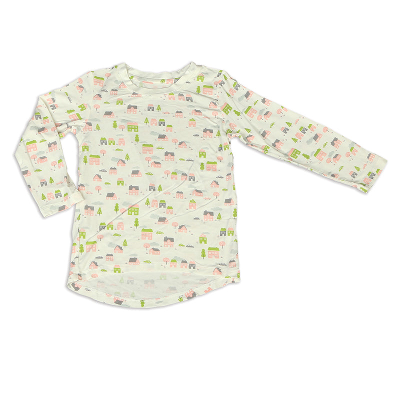Bamboo Long Sleeve Tee (Little Village Print)