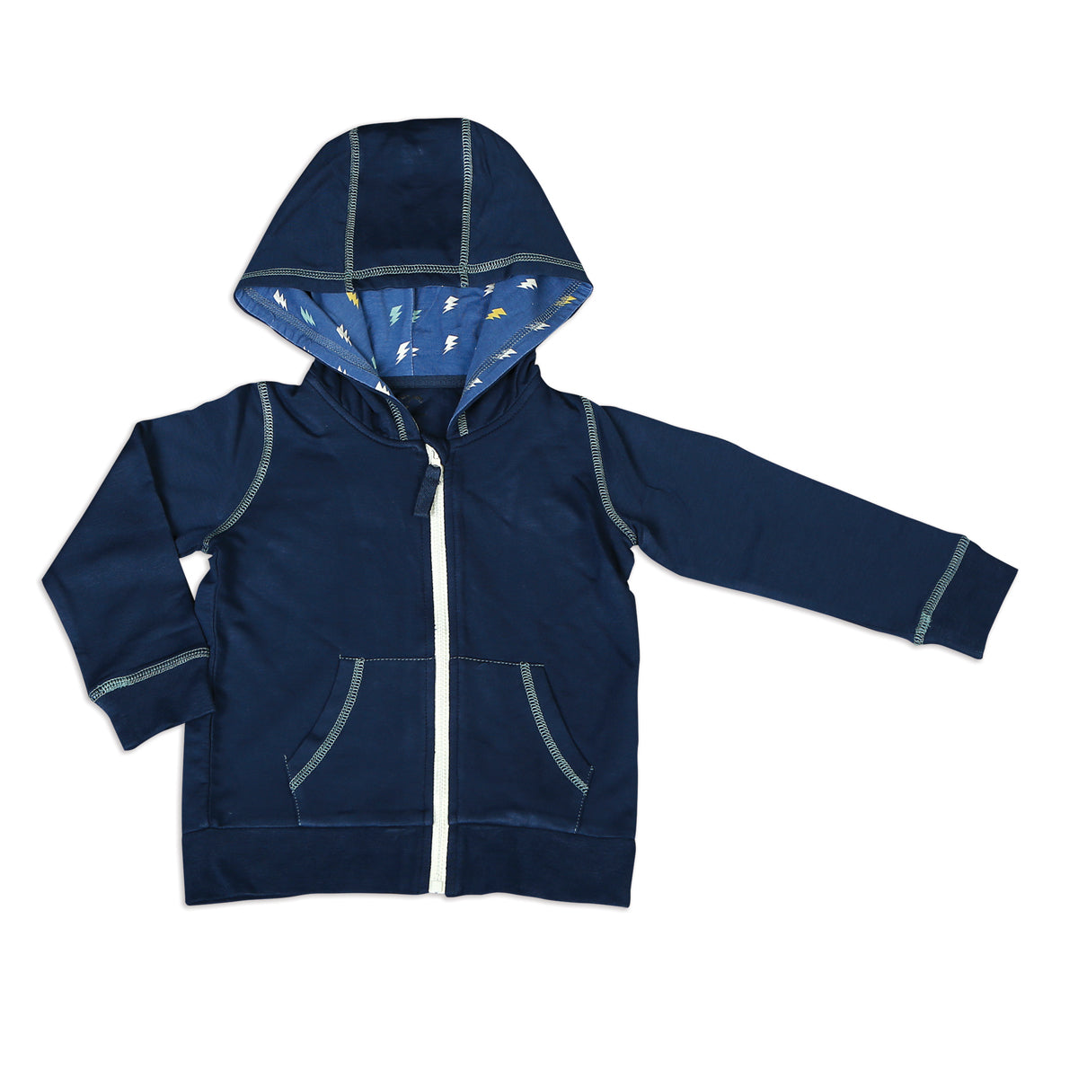 Bamboo Fleece Hooded Jacket (Boy) - Midnight (Hood with Lightning Bolt Print Lining)