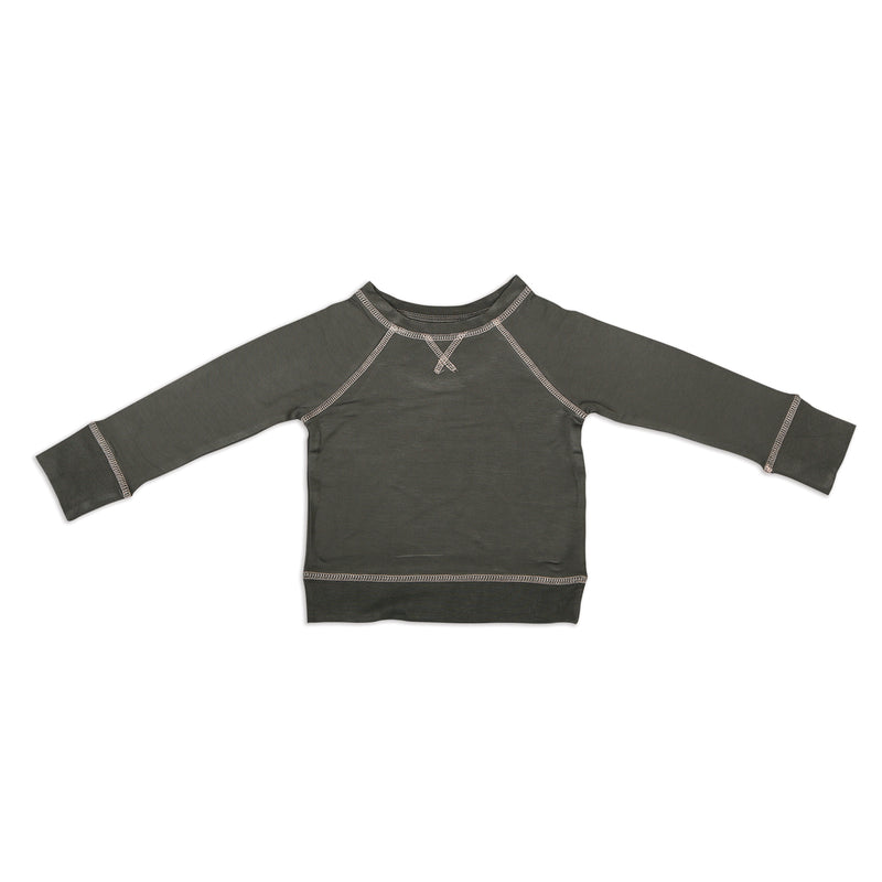Bamboo Fleece Sweatshirt - Shady Gray (Powder Pink Coverstitch)
