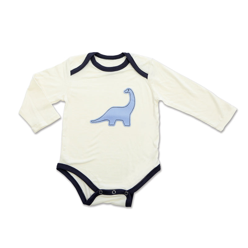 Bamboo Long Sleeve Onesie (Feather/Dino)