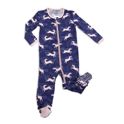 Bamboo Footies with Easy Dressing Zipper(Stardust Unicorn Print)