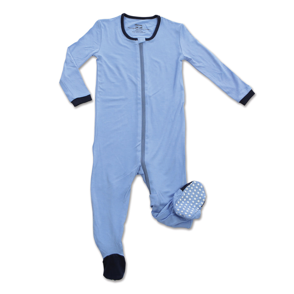 Bamboo Footies with Easy Dressing Zipper (Serenity)
