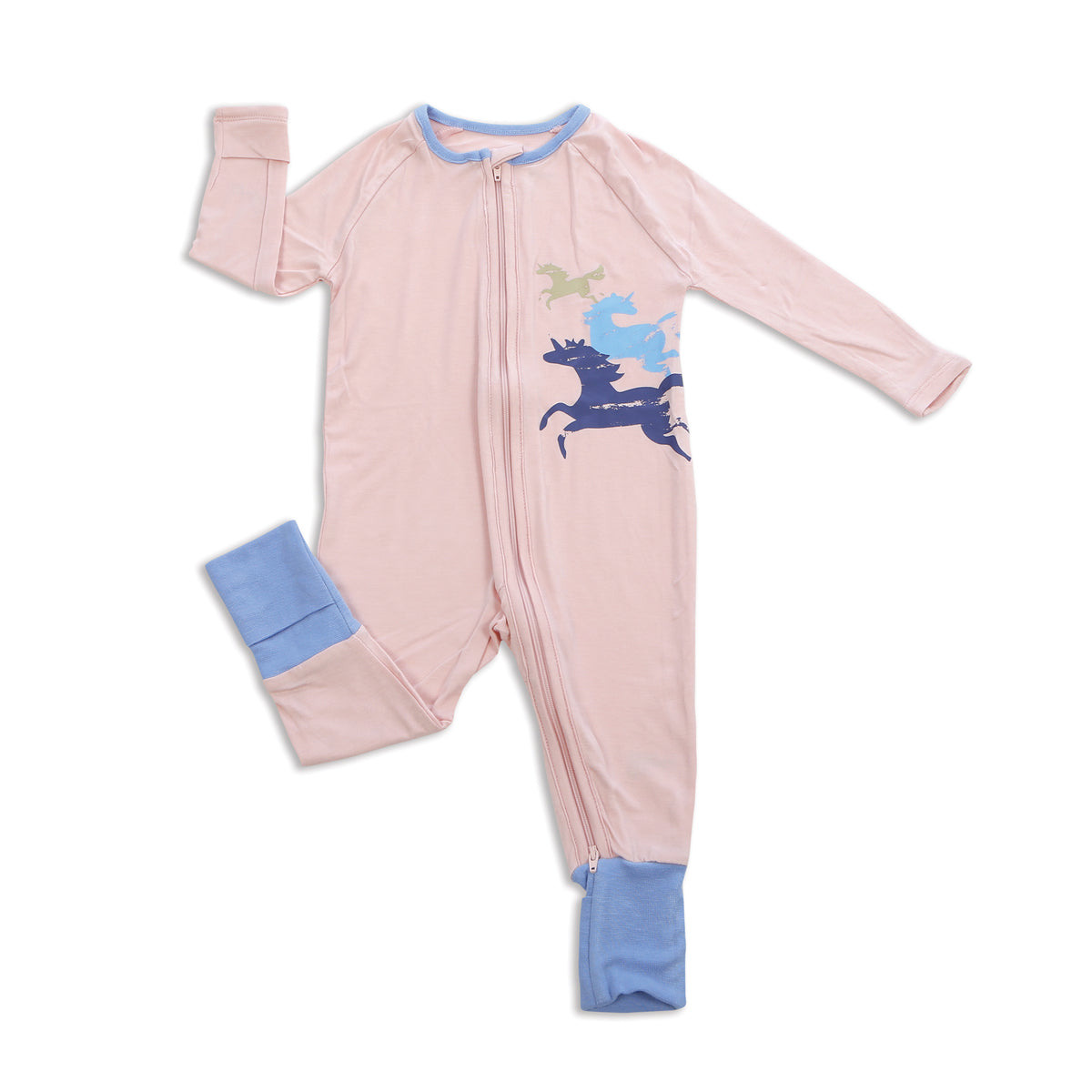 Bamboo Two-way Zipper Romper (Pink Cloud)
