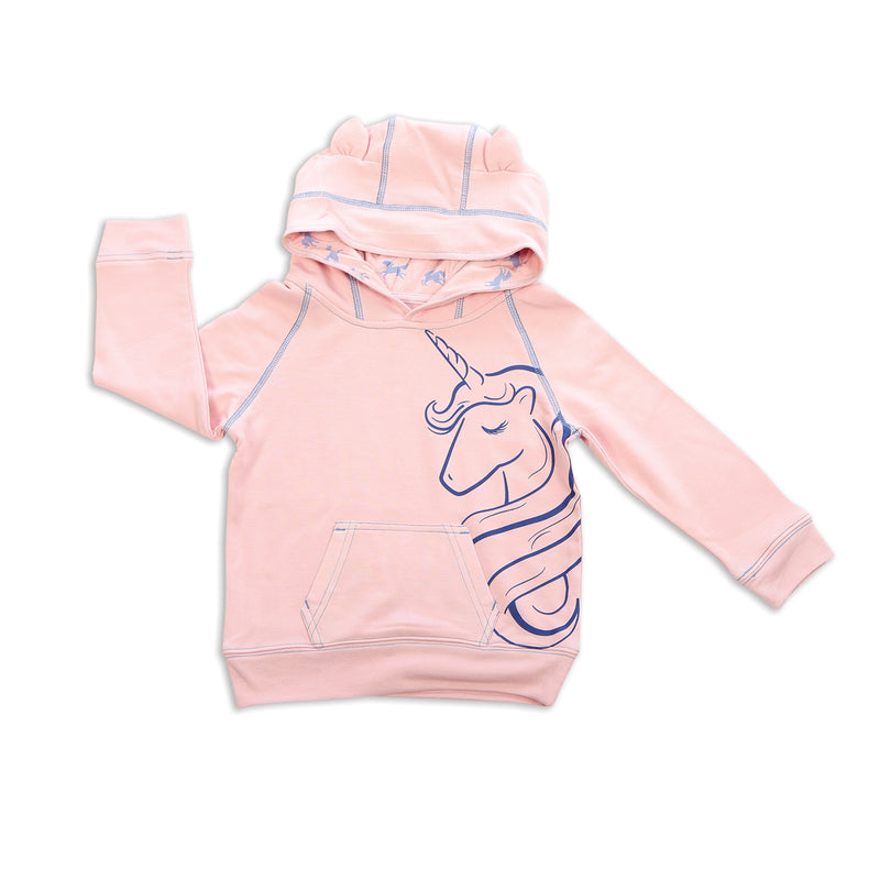 Bamboo Fleece Unicorn Hoodie (Pink Cloud)