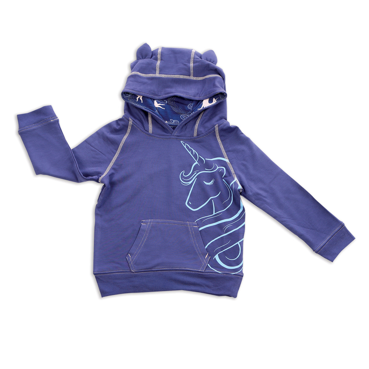 Bamboo Fleece Unicorn Hoodie (Skipper Blue)