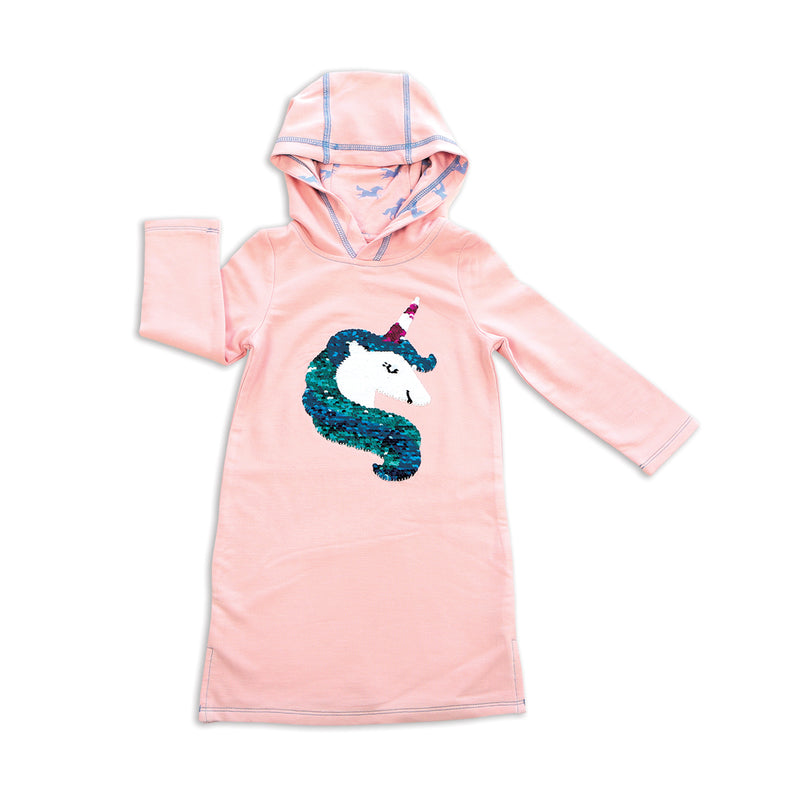 Bamboo Fleece Hoodie Dress with Magic Sequins (Pink Cloud)