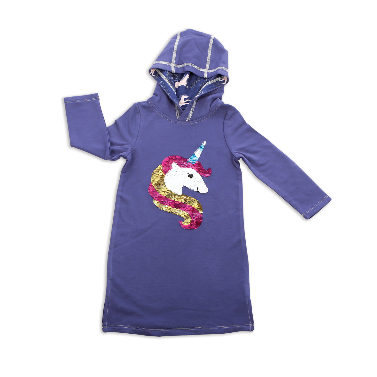 Bamboo Fleece Hoodie Dress with Magic Sequins (Skipper Blue)