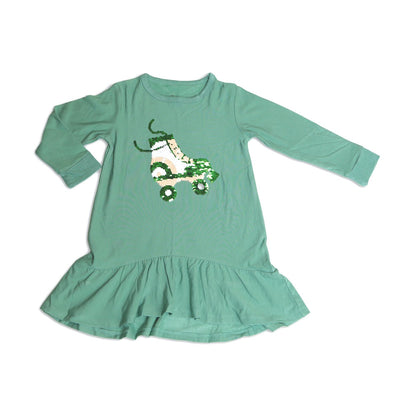 bamboo fleece dress with magic sequins, roller booties changed color