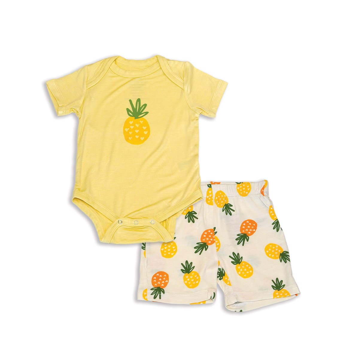 bamboo short sleeve onesie& short set pineapple love print