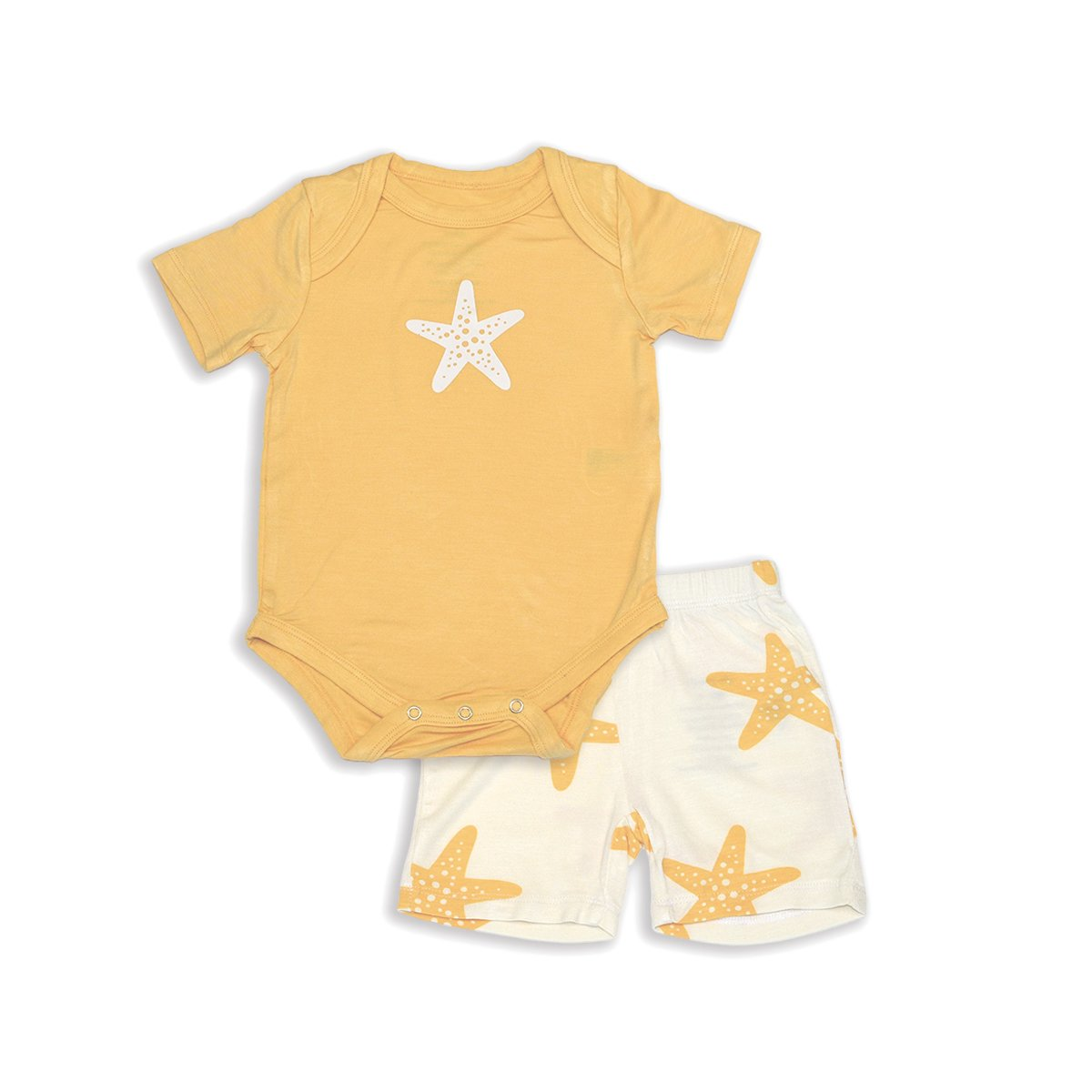 bamboo short sleeve onesie& short set starfish print