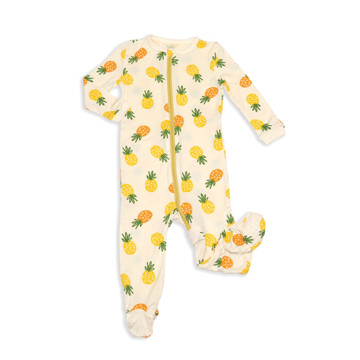bamboo zip up footed sleeper pineapple love print