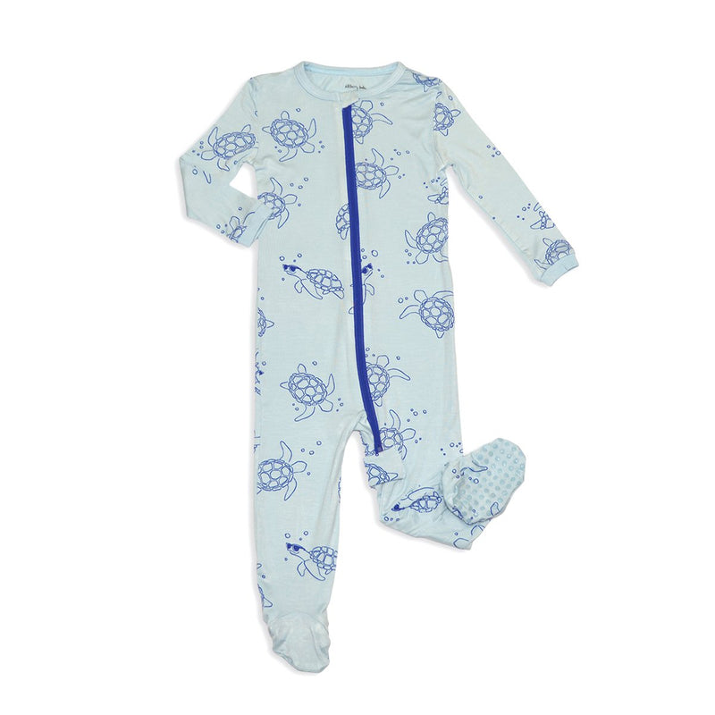 bamboo zip up footed sleeper sea turtle print
