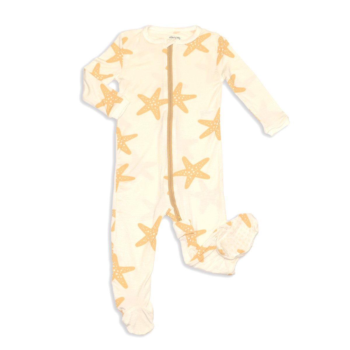 bamboo zip up footed sleeper starfish print