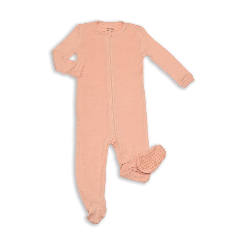bamboo zip up footed sleeper dusty rose color