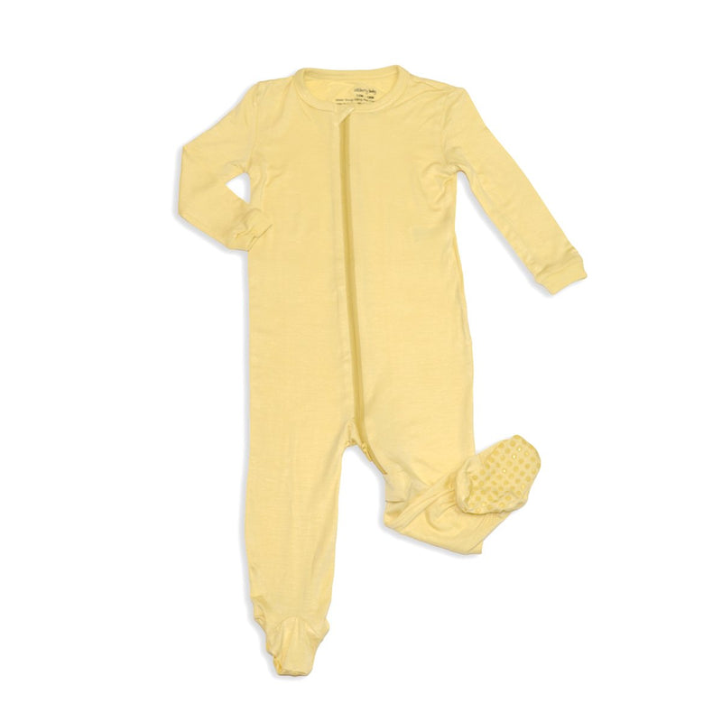 bamboo zip up footed sleeper popcorn color
