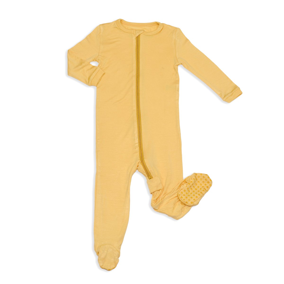 bamboo zip up footed sleeper warm sand color