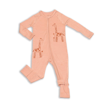 bamboo two way zipper romper dusty rose