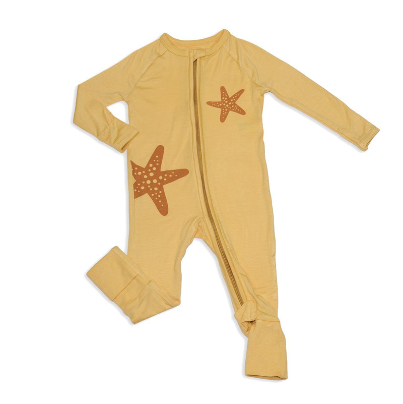 bamboo two way zipper romper warm sand color