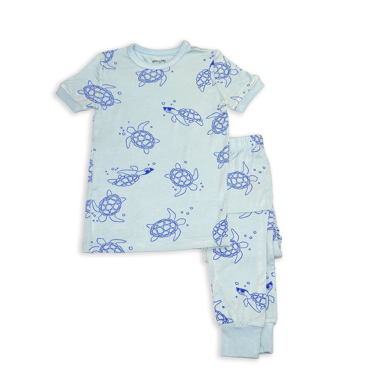 bamboo short sleeve pajama set sea turtle print