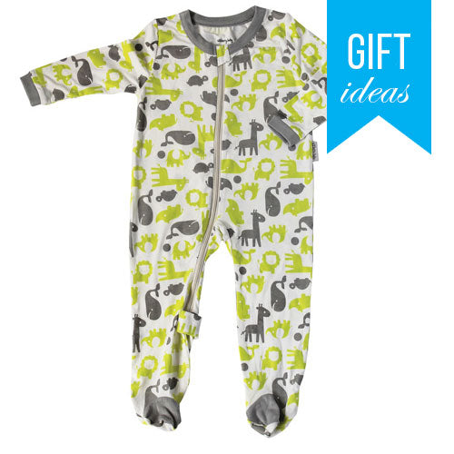 Bamboo Footies with Easy Dressing Zipper - Limey & Dove