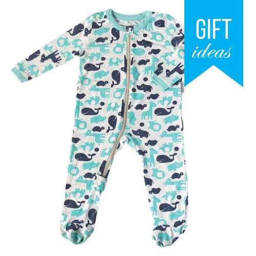 Bamboo Footies with Easy Dressing Zipper - Pool & Twilight