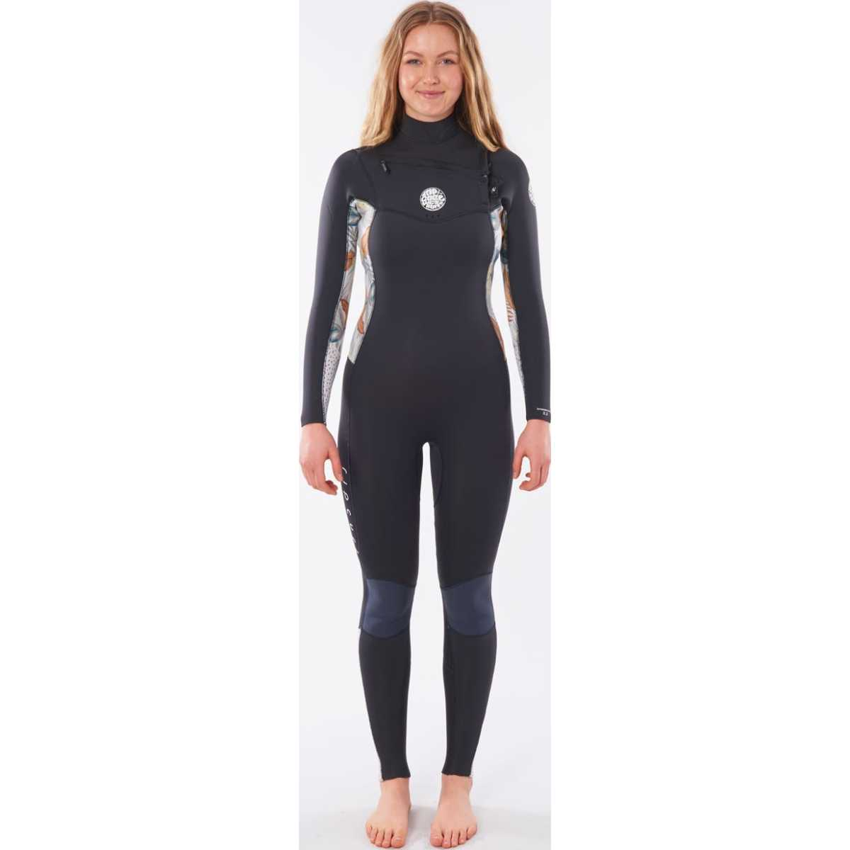 Rip Curl Women'S Dawn Patrol 3/2 Chest Zip Wetsuit In Charcoal Grey