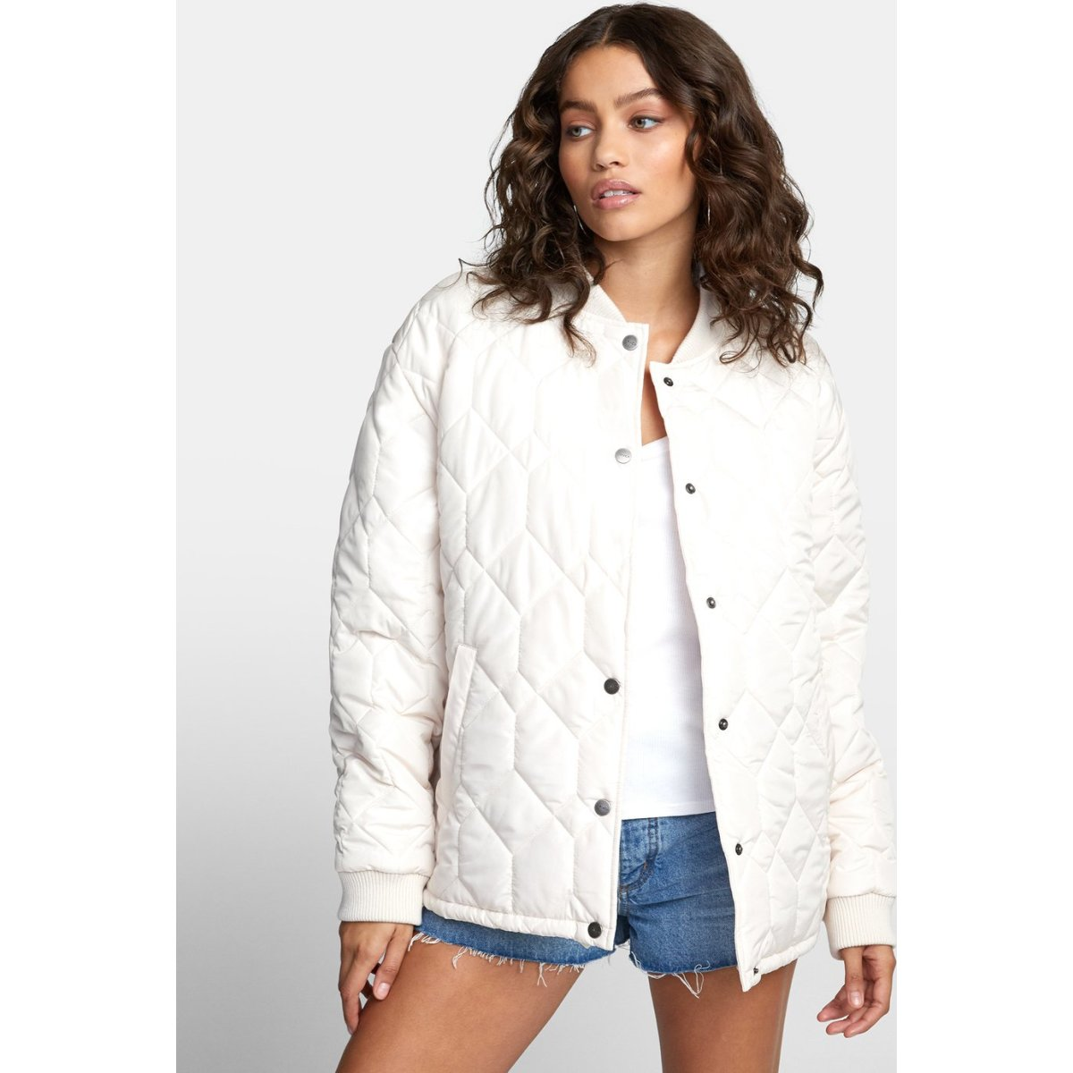 Rvca Downtown Quilted Bomber Jacket