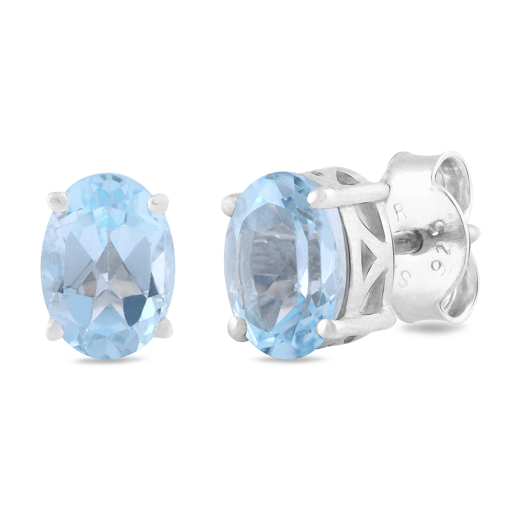 925 sterling silver rhodium plated oval sky-blue topaz stud earrings